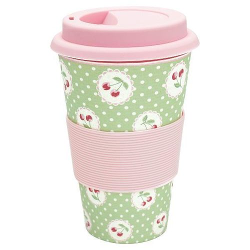 "Travel Mug ""Cherry berry pale green"" GreenGate"